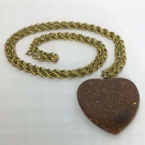 Victorian 12K Gold Filled Goldstone Heart Pendant